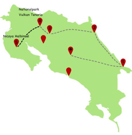 Costa Rica Rundreise Karte 5